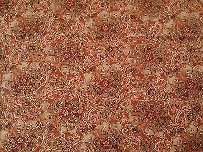 Maharaja Judy Martin Quilting Treasure BTY Tan Rust Floral with Metallic Gold