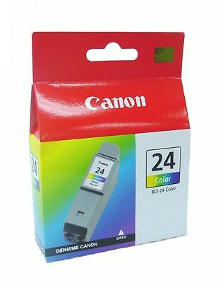 Lot of 4 Canon BCI-24 Ink Cartridges Color GENUINE NEW!