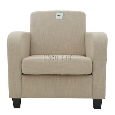 FoxHunter Tub Chair Armchair Linen Fabric Dining Living Room Lounge TC02 Cream