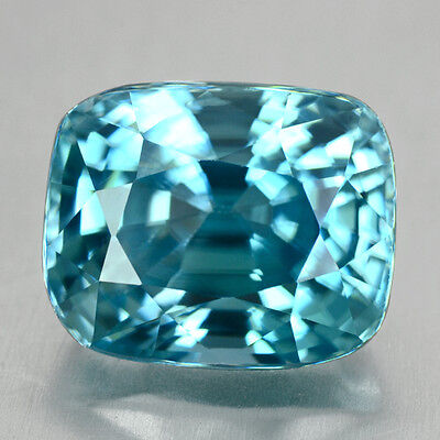 6.63 ct 10.2 x 8.3 x 7mm 100% Natural Blue ZIRCON CAMBODIA Very Good-Luster