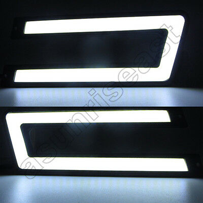 2 x White 6000K COB LED Daytime Running Light DRL Fog Lamp U Shape Waterproof