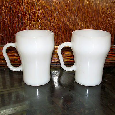 TWO Vintage FIRE KING Coke Style SODA FOUNTAIN Milk Glass Cola COFFEE CUPS MUGS
