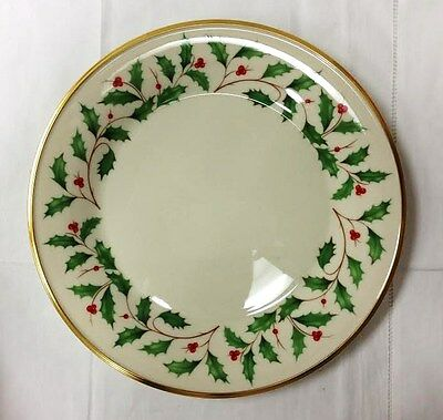 "Lenox ""holiday"" Holly Dinner Plate 10 5/8"" Ivory Bone China New Made In U.s.a."