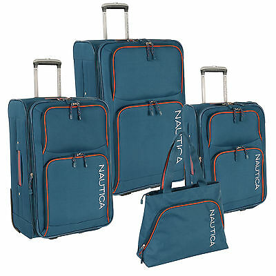 NAUTICA CATAMARAN II BLUE ORANGE EXPANDABLE 4 PIECE LUGGAGE SET - $950 VALUE NEW