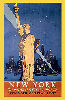 """NEW YORK STATUE LIBERTY WONDER CITY OF THE WORLD VINTAGE POSTER REPRO 12""""X16"""""""