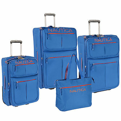 NAUTICA MARITIME II BLUE EXPANDABLE 4 PIECE LUGGAGE SET $880 VALUE