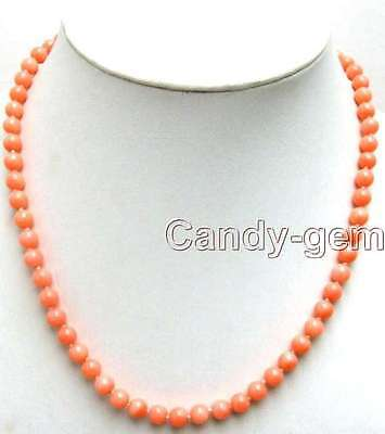 """SALE 6-7mm Round natural High quality Pink Coral 17"""" Necklace-nec4107 free ship"""