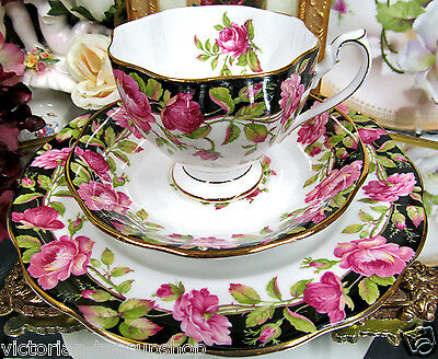 QUEEN ANNE TEA CUP AND SAUCER TRIO BLACK MAGIC & PINK  ROSES PATTERN TEACUP