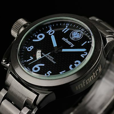 INFANTRY NAVY Mens Quartz Sport Military Army Analog Watch Black Blue Waterproof