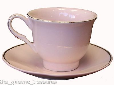 Set of 4 TEA PARTY CHILD SIZE FINE CHINA TEACUPS & SAUCERS Pink FACTORY SECOND!!