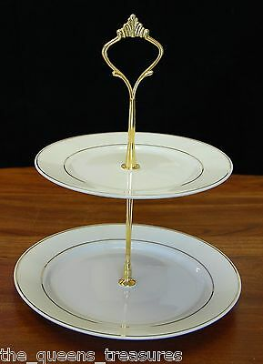 TWO TIER COOKIE TIDBIT TEA PARTY SERVING TRAY White/Gold FACTORY SECOND