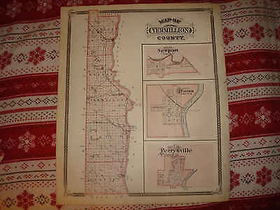 Mint Antique 1876 Vermillion County Perrysville Clinton Newport Indiana Map Rare