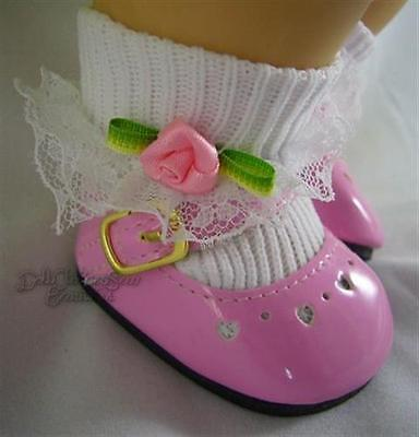 Pink Patent Shoes + Rosebud Socks for Bitty Baby + Twins Dolls Moniques Brand