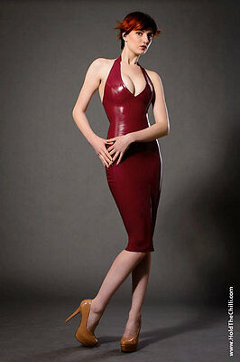 Latex halter top with matching gauntlets (Essential Latex, XS, electric lilac)