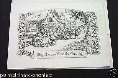 # I 140- Vintage Unused Xmas Greeting Card Victorian Horse & Carriage & Family