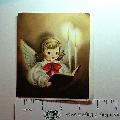 #B323- Vintage Unused Xmas Greeting Card Pretty Angel Reading By Candlelight