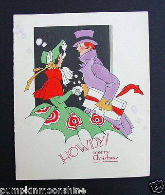 #E238- Vintage Xmas Greeting Card Amazing Fancy Victorian Couple Shaking Hands