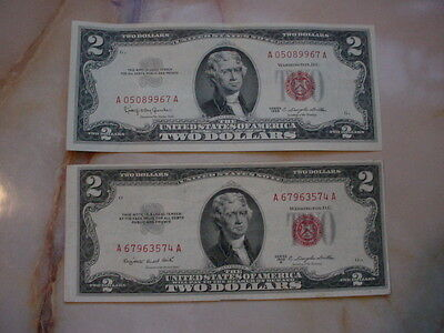1953,1963 $2 United States Red Seal Notes XF