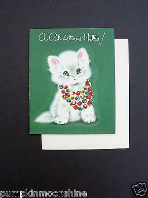 #G500- Vintage Unused Norcross Xmas Greeting Card Adorable White Cat & Beads
