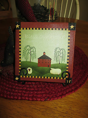 SMALL BLESS OUR HOME SIGN STAND WILLOW SALT BOX SHEEP STARS NEW BURGUNDY