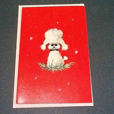 #C573- Vintage Unused Norcross Xmas Greeting Card Adorable White Poodle Dog