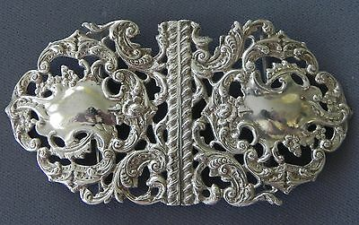 Antique Victorian Sterling Silver Nurses' Belt Buckle Flowers & Scrollwork 1899