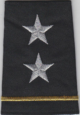 Police 2 STARS CHIEF/DEPUTY Silver/Gold Bar Epaulet Shoulder Boards Black small