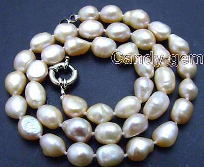 """SALE Pink Big 7-9mm BAROQUE natural Freshwater PEARL 17""""  Necklace-nec5783"""