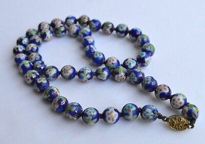 Vintage Gilded 48 Famille Azure Porcelain Bead Chinese Hand Painted Necklace