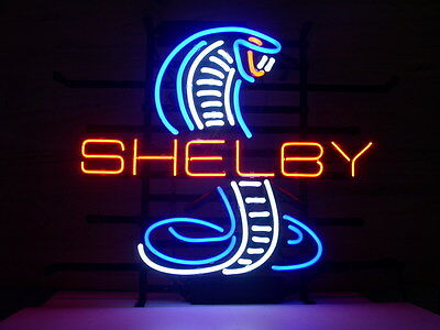 NEW SHELBY MUSTANG COBRA FORD GT REAL GLASS NEON BEER BAR PUB LIGHT SIGN