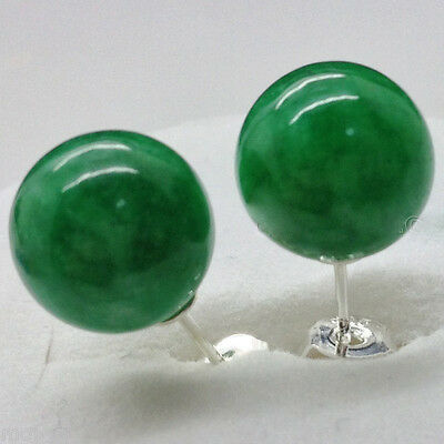 New Pair 10MM Natural Emerald Jade Gemstone 925 Sterling Silver Stud Earrings