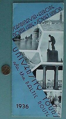 RARE 1936 Soviet Union-Baltic-Scandinavia-Europe University Tours Brochure-USSR!