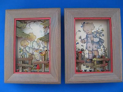 2 Vintage Anri Hummel 3D Shadow Boxes, Girl/Flowers & Children Praying to Mary
