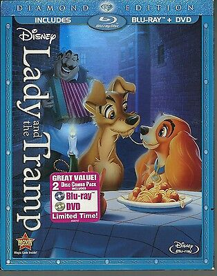 Lady and the Tramp Disney 2-Disc Set Diamond Edition Slipcover Blu-Ray DVD New