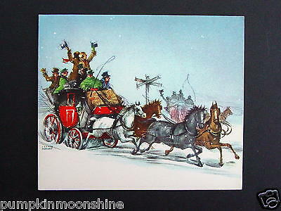 Vintage Unused Gibson Xmas Greeting Card Victorian Stage Coach & Horses