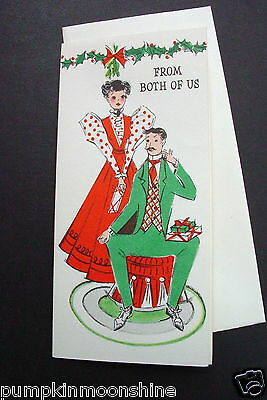 Vintage Unused Gibson Xmas Greeting Card Fancy Victorian Couple