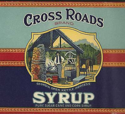 1920's Cross Roads Brand Syrup Can Label W. B. Roddenberry Cairo, Georgia