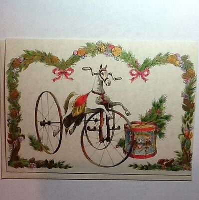 #A304- Vintage Norcross Xmas Card Unused Carousel Horse Tricycle Patriotic Drum