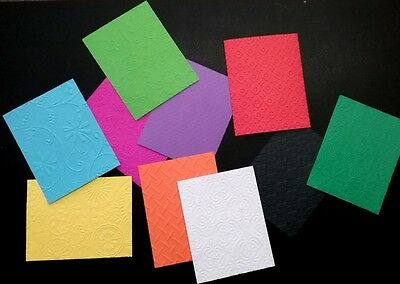 EMBOSSED PAPER  PACK x 20 *** 10 COLOURS ***10 DESIGNS- SCRAPBOOKING/CARDMAKING