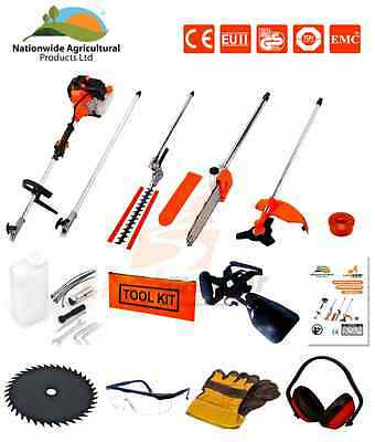 52cc 5 in 1 Hedge Trimmer, Chainsaw, Brush Cutter ,Strimmer, Extension Pole New!