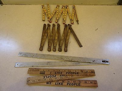 Lot of 4 Vintage Expandable Advertising Rulers Wood and Metal