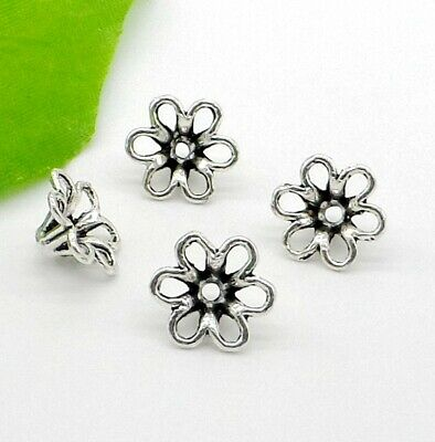 free ship 50Pcs Tibetan Silver Flower Beads Caps For Jewelry Making 13x6mm