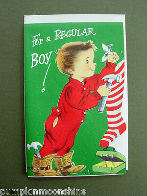Vintage Unused Norcross Die-Cut Xmas Greeting Card Cute Boy Hanging Stocking
