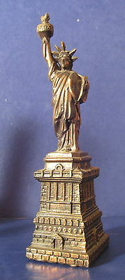"Statue of Liberty Vintage  Souvenir Metal  Building Great Torch 8.5"" t17d"