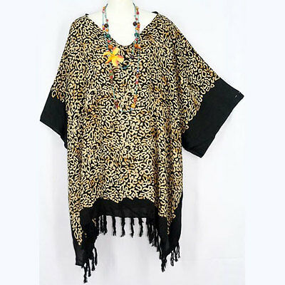 NEW WOMENS BLACK BROWN ABSTRACT BATIK CAFTAN TUNIC TASSEL TOP PLUS SIZE 3X 4X 5X