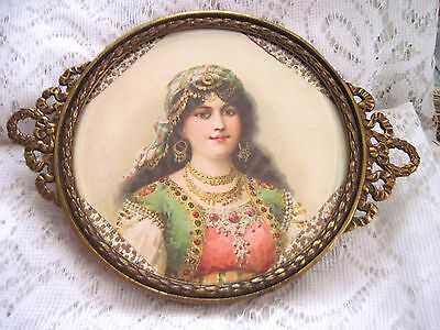 Fab Vtg Ornate Brass Footed Vanity Tray w/Victorian Girl Litho~Add Your Keepsake