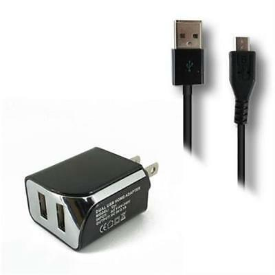 Black Dual Wall Charger & Data Cable For Samsung Behold II 2 Two SGH-T939