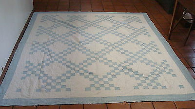 "ca 1930 blue & white Double Irish Chain quilt, 88"" x 79"", as is, no reserve"
