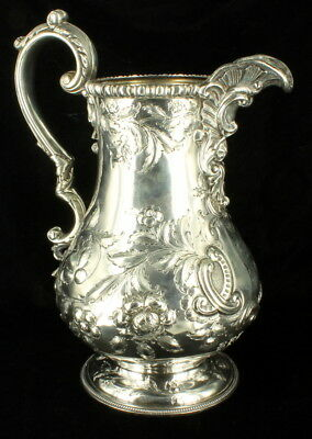 ANTIQUE TIFFANY & CO. GROSJEAN & WOODWARD SILVER REPOUSSE PITCHER 1050g 1853