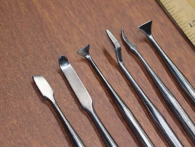 SET OF 6 SMALL PRECISION WOOD CARVING TOOLS CHISELS SCRAPERS PICKS